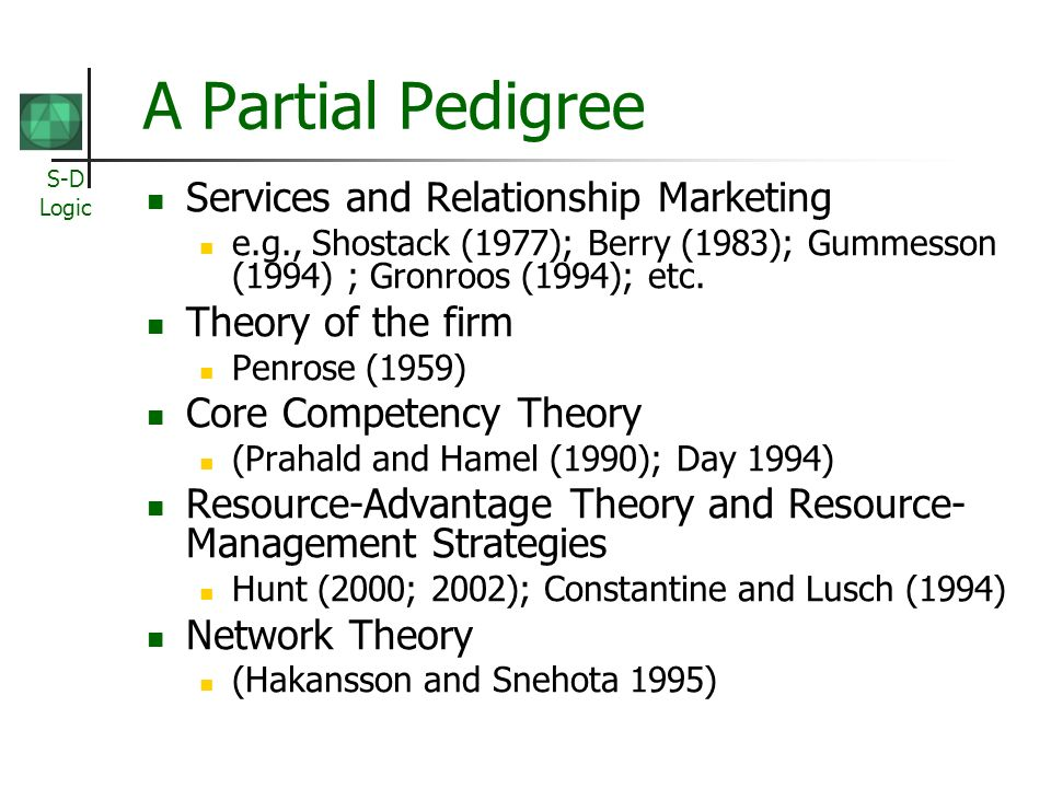 S-D Logic A Partial Pedigree Services and Relationship Marketing e.g., Shostack (1977); Berry (1983); Gummesson (1994) ; Gronroos (1994); etc.