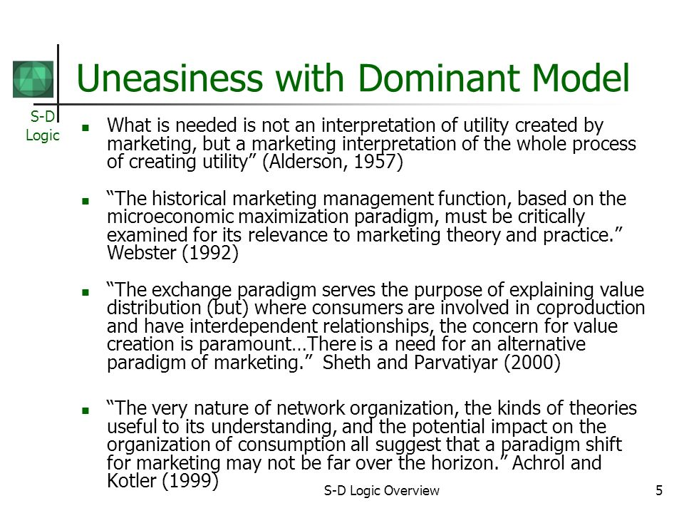 S-D Logic S-D Logic Overview5 Uneasiness with Dominant Model What is needed is not an interpretation of utility created by marketing, but a marketing