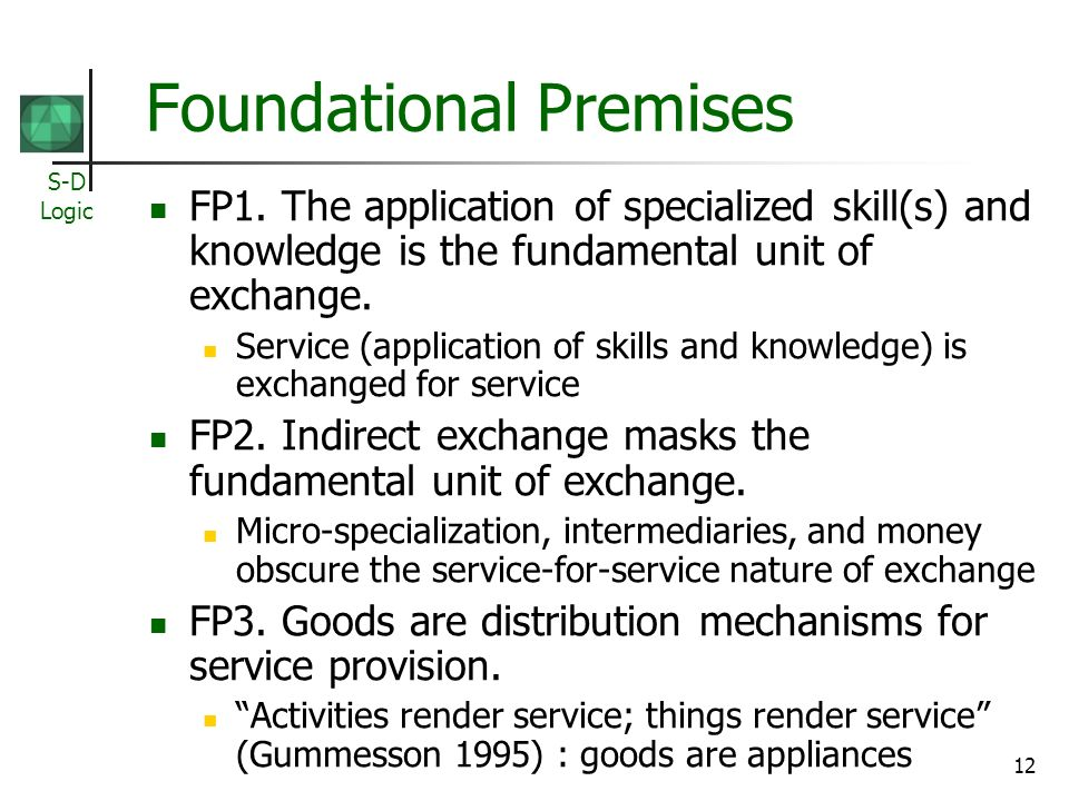 S-D Logic 12 Foundational Premises FP1.