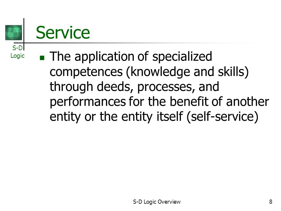 S-D Logic S-D Logic Overview9 Service-Dominant (S-D) Logic Identify core competences, knowledge and skills that represent a potential competitive advantage Cultivate relationships with potential customers develop customized, compelling value propositions Co-create value with customer Use financial performance as an instrument of learning for improving the level of service for customers and markets