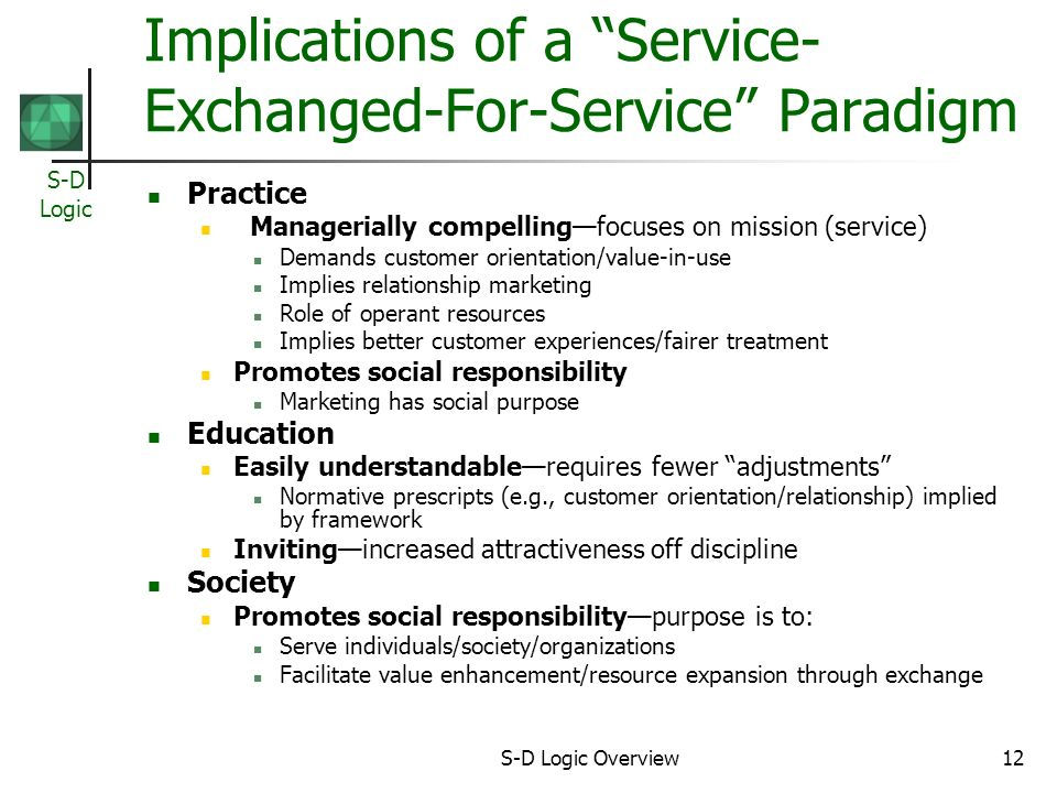 S-D Logic S-D Logic Overview12 Implications of a Service- Exchanged-For-Service Paradigm Practice Managerially compellingfocuses on mission (service) Demands customer orientation/value-in-use Implies relationship marketing Role of operant resources Implies better customer experiences/fairer treatment Promotes social responsibility Marketing has social purpose Education Easily understandablerequires fewer adjustments Normative prescripts (e.g., customer orientation/relationship) implied by framework Invitingincreased attractiveness off discipline Society Promotes social responsibilitypurpose is to: Serve individuals/society/organizations Facilitate value enhancement/resource expansion through exchange