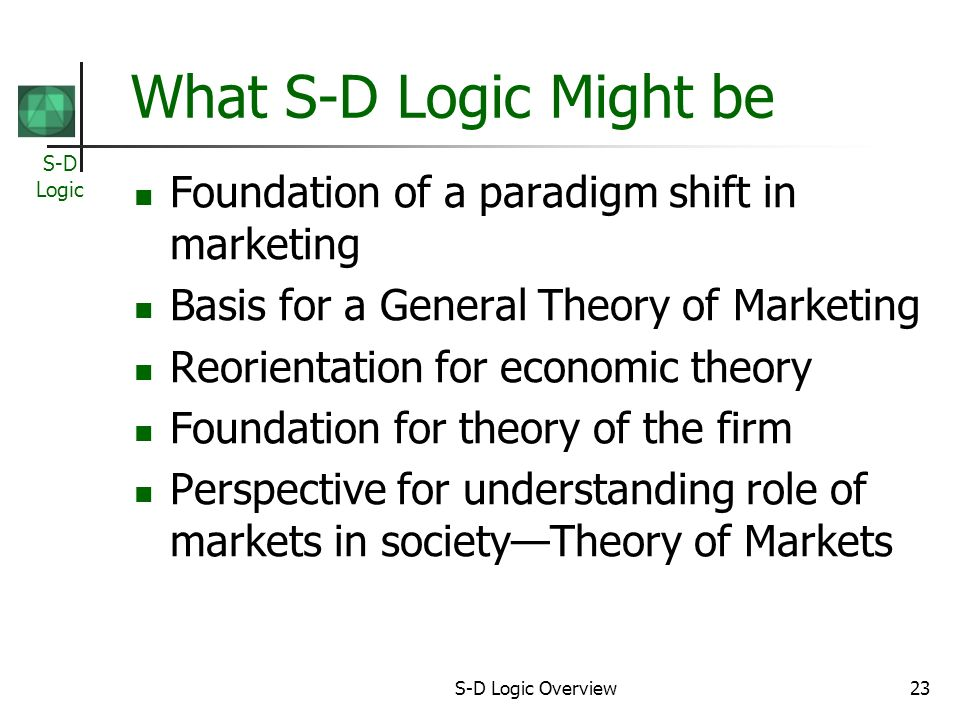 S-D Logic S-D Logic Overview23 What S-D Logic Might be Foundation of a paradigm shift in marketing Basis for a General Theory of Marketing Reorientation for economic theory Foundation for theory of the firm Perspective for understanding role of markets in societyTheory of Markets