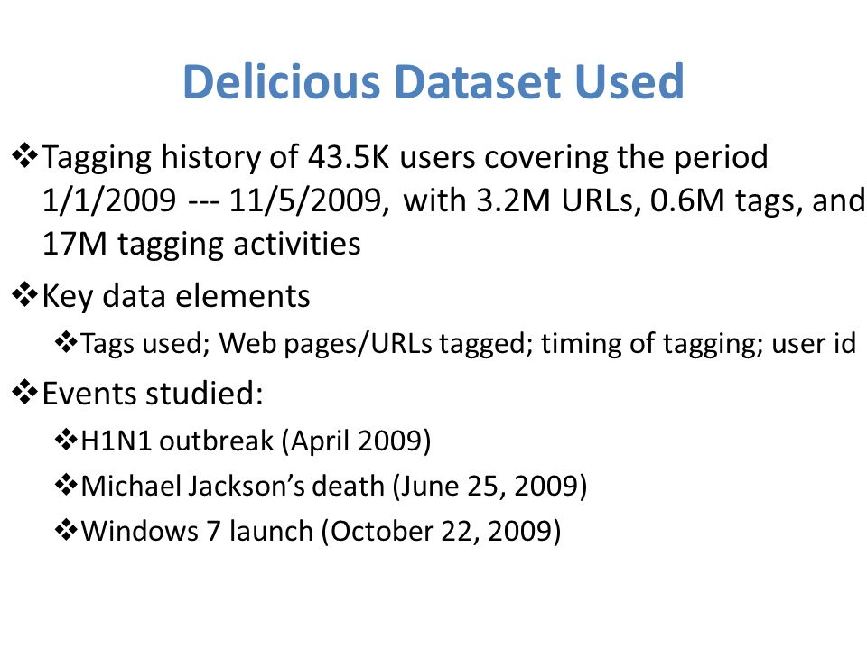 Delicious Dataset Used Tagging history of 43.5K users covering the period 1/1/2009 --- 11/5/2009, with 3.2M URLs, 0.6M tags, and 17M tagging activities Key data elements Tags used; Web pages/URLs tagged; timing of tagging; user id Events studied: H1N1 outbreak (April 2009) Michael Jacksons death (June 25, 2009) Windows 7 launch (October 22, 2009)