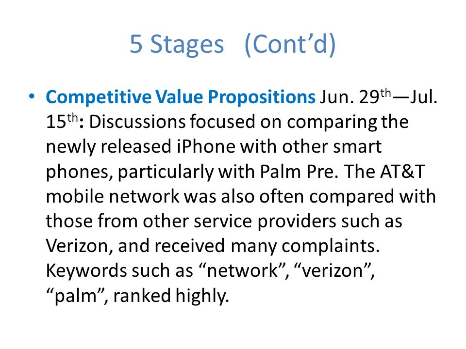 5 Stages (Contd) Competitive Value Propositions Jun.