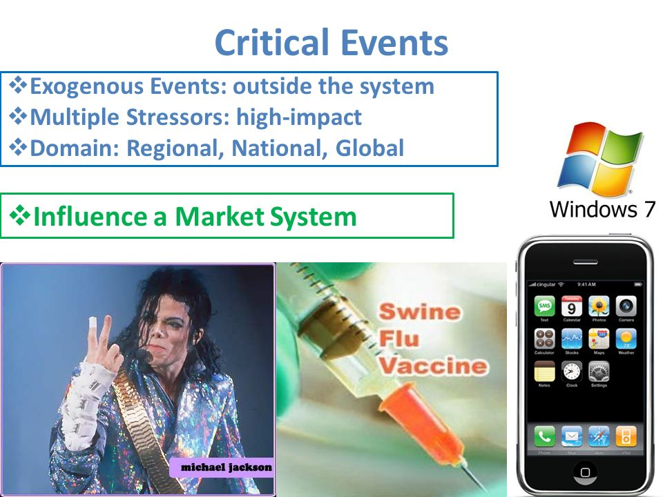 Critical Events Exogenous Events: outside the system Multiple Stressors: high-impact Domain: Regional, National, Global Influence a Market System