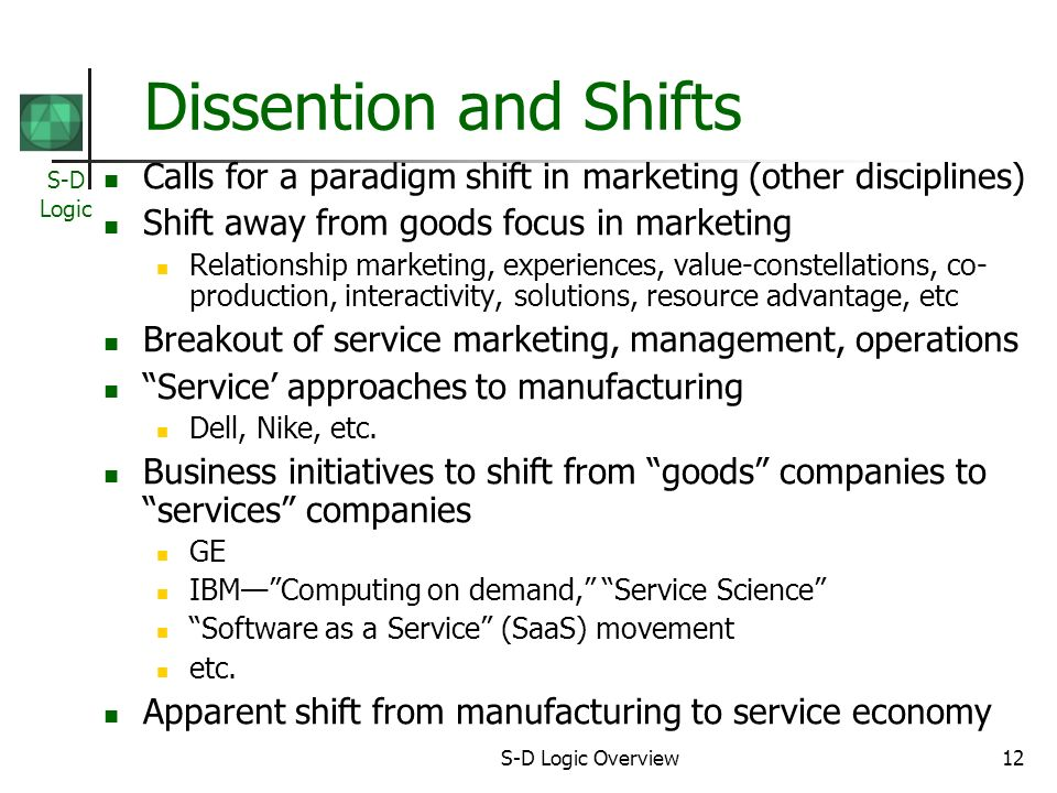 S-D Logic S-D Logic Overview12 Dissention and Shifts Calls for a paradigm shift in marketing (other disciplines) Shift away from goods focus in marketing Relationship marketing, experiences, value-constellations, co- production, interactivity, solutions, resource advantage, etc Breakout of service marketing, management, operations Service approaches to manufacturing Dell, Nike, etc.