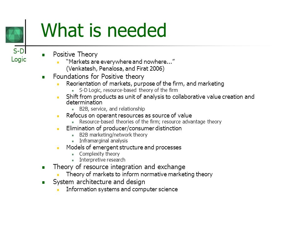 S-D Logic What is needed Positive Theory Markets are everywhere and nowhere...
