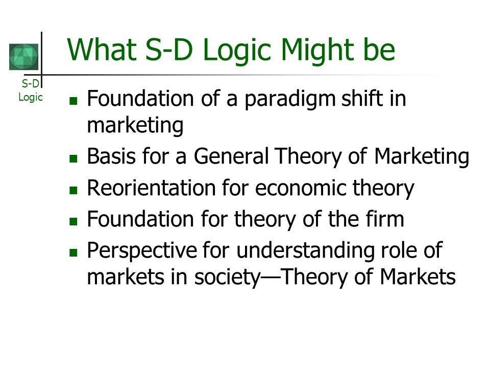 S-D Logic What S-D Logic Might be Foundation of a paradigm shift in marketing Basis for a General Theory of Marketing Reorientation for economic theory Foundation for theory of the firm Perspective for understanding role of markets in societyTheory of Markets