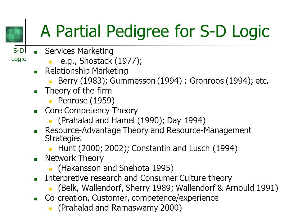 S-D Logic A Partial Pedigree for S-D Logic Services Marketing e.g., Shostack (1977); Relationship Marketing Berry (1983); Gummesson (1994) ; Gronroos