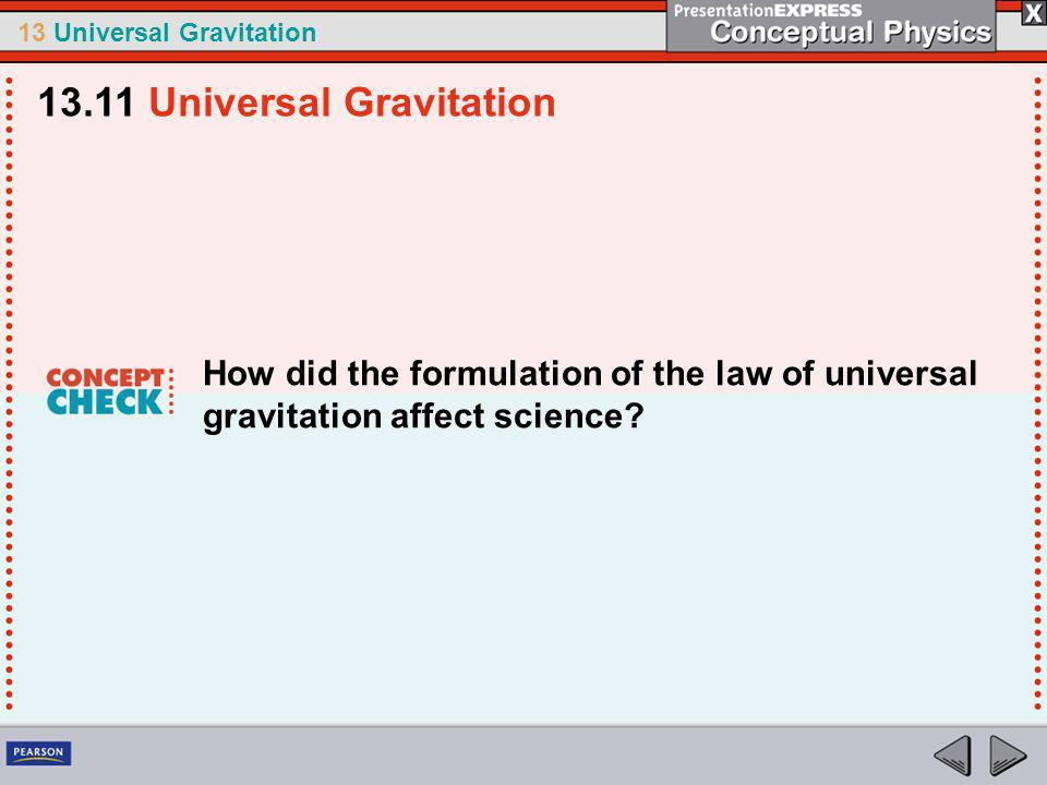 13 Universal Gravitation 1.Newton determined that the pull of Earths gravity caused both apples and a.the moon to fall toward Earth.
