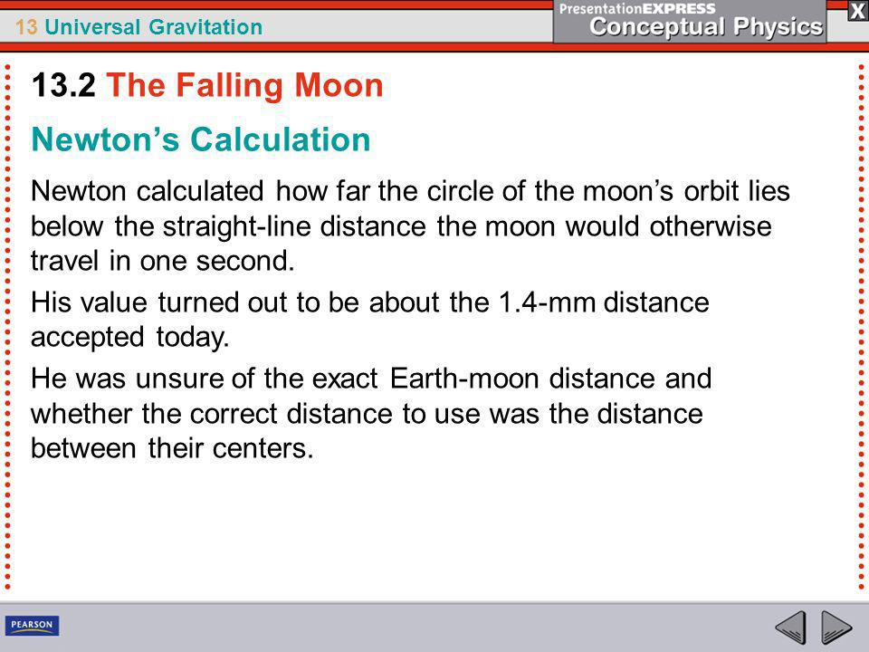 13 Universal Gravitation If the force that pulls apples off trees also pulls the moon into orbit, the circle of the moons orbit should fall 1.4 mm below a point along the straight line where the moon would otherwise be one second later.