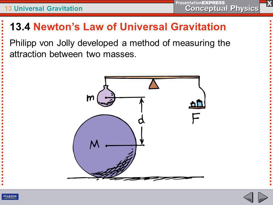 13 Universal Gravitation The value of G tells us that gravity is a very weak force.