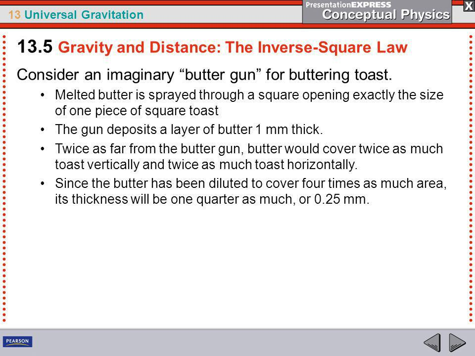 13 Universal Gravitation Butter spray travels outward from the nozzle in straight lines.