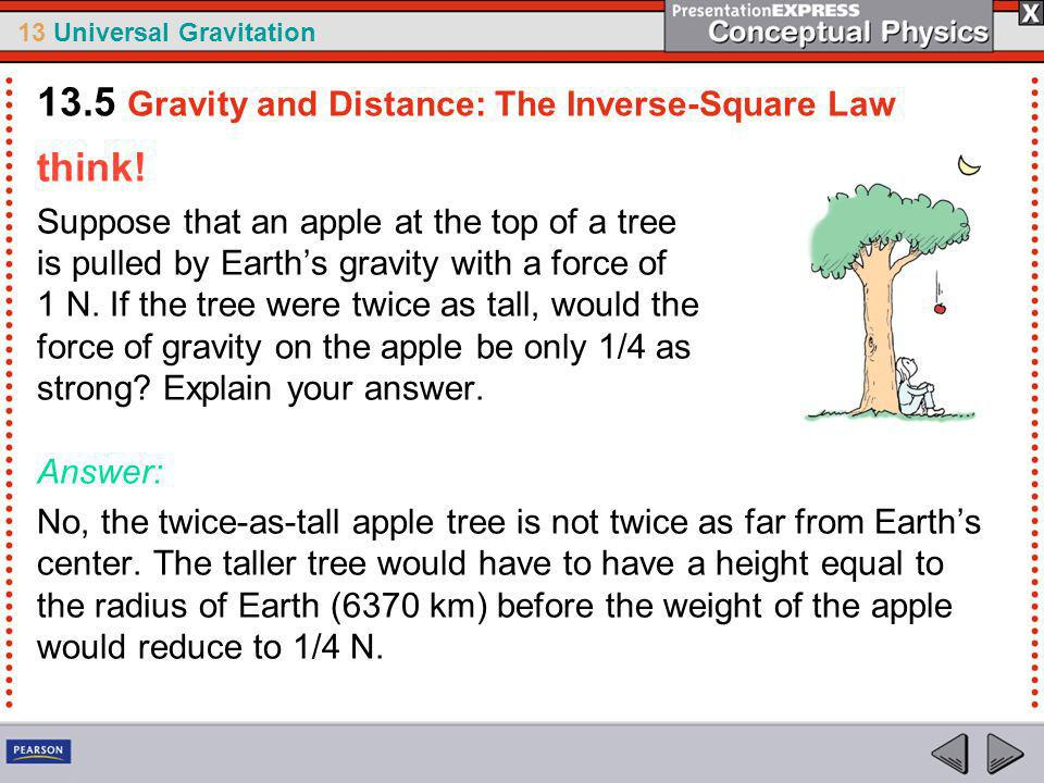 13 Universal Gravitation How does the force of gravity change with distance.