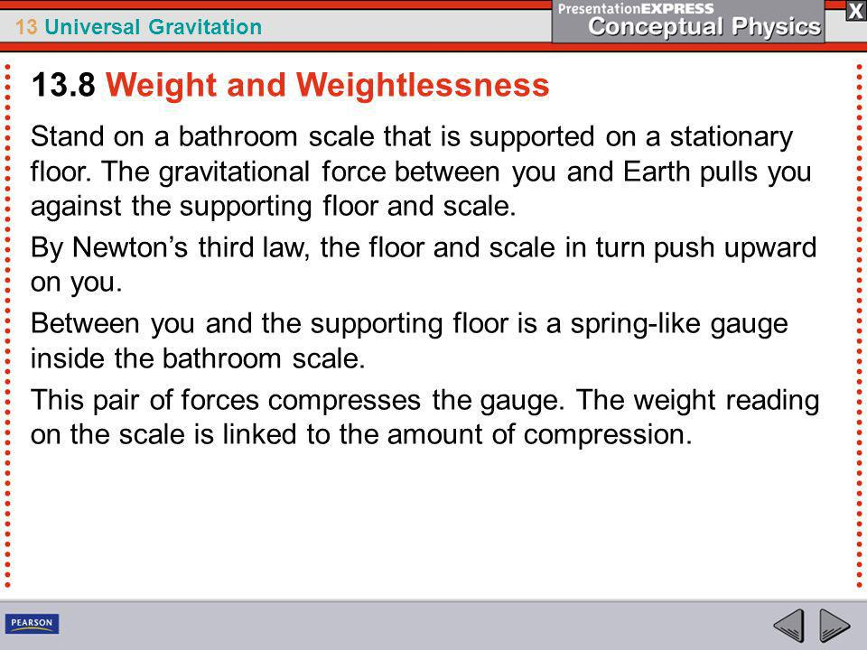 13 Universal Gravitation Repeat this weighing procedure in a moving elevator and you would find your weight reading would vary during accelerated motion.