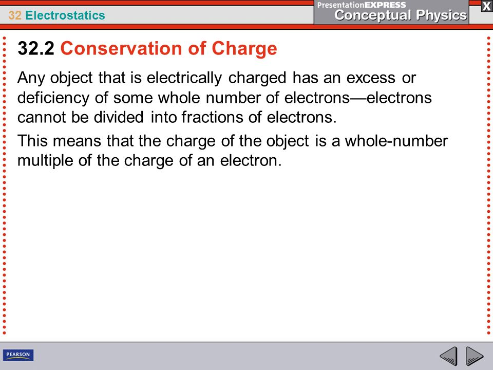 32 Electrostatics Any object that is electrically charged has an excess or deficiency of some whole number of electronselectrons cannot be divided int
