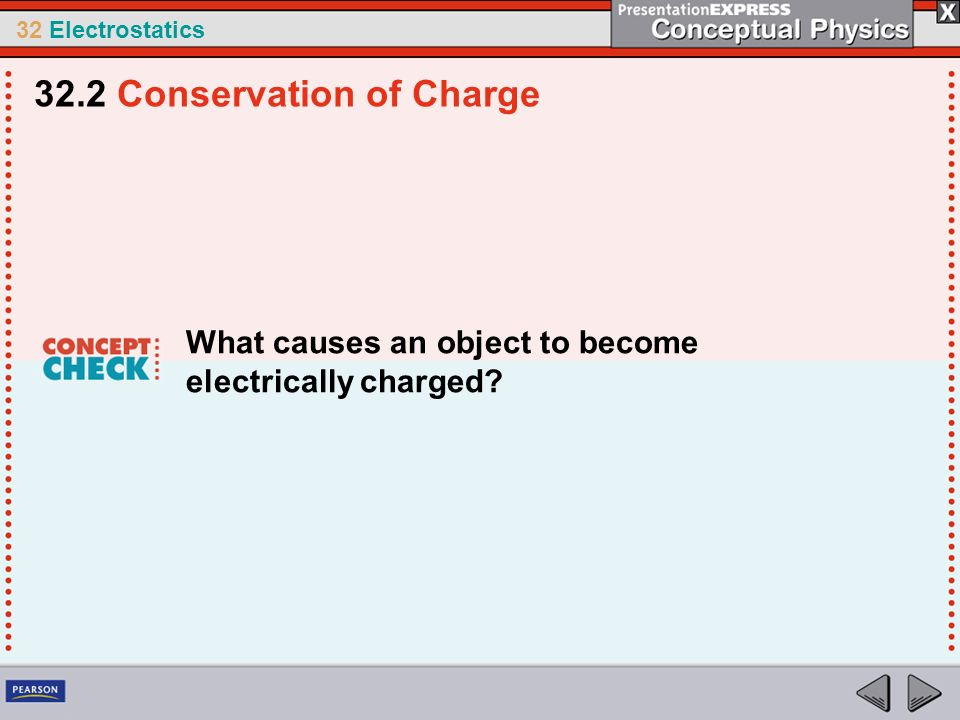 32 Electrostatics What causes an object to become electrically charged? 32.2 Conservation of Charge