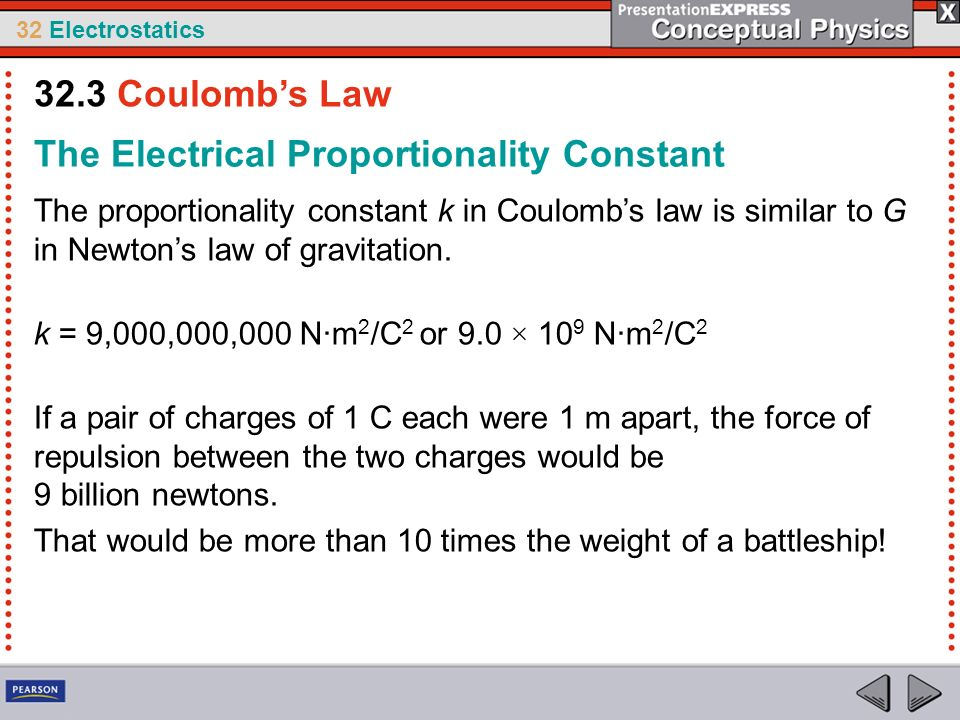 32 Electrostatics The Electrical Proportionality Constant The proportionality constant k in Coulombs law is similar to G in Newtons law of gravitation