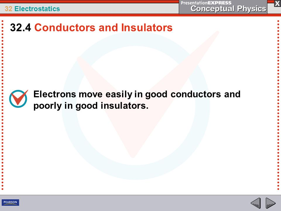 32 Electrostatics Electrons move easily in good conductors and poorly in good insulators. 32.4 Conductors and Insulators