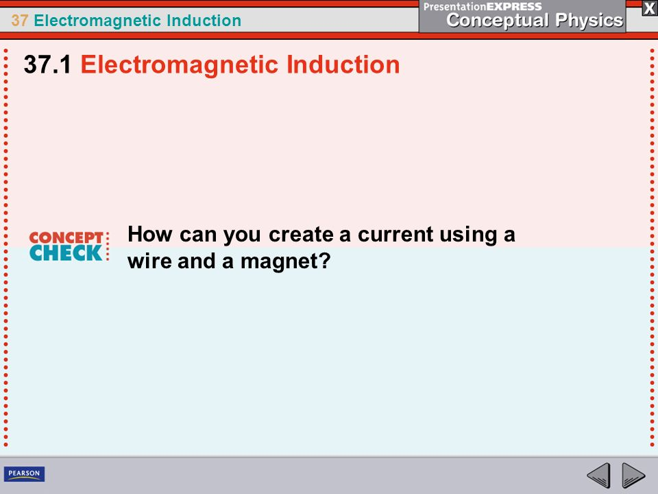 37 Electromagnetic Induction How can you create a current using a wire and a magnet.