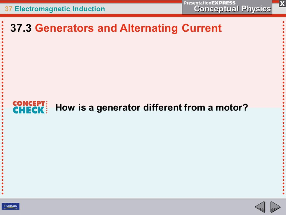 37 Electromagnetic Induction How is a generator different from a motor.