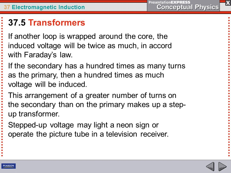 37 Electromagnetic Induction If another loop is wrapped around the core, the induced voltage will be twice as much, in accord with Faradays law.