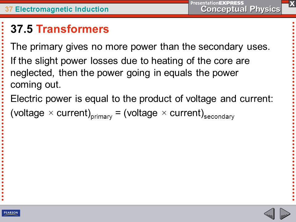37 Electromagnetic Induction The primary gives no more power than the secondary uses.