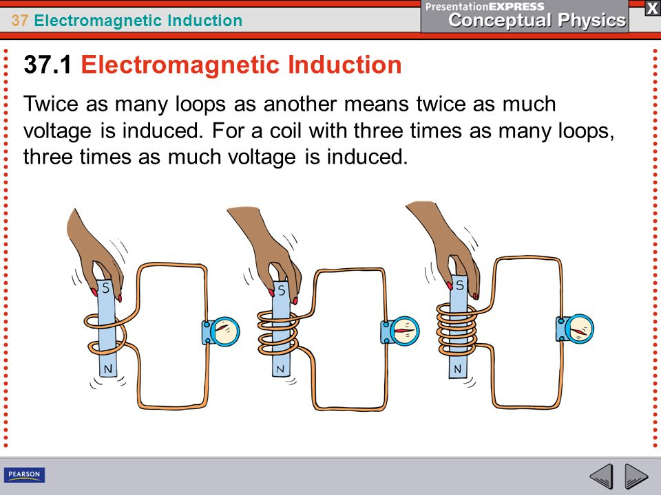 37 Electromagnetic Induction Twice as many loops as another means twice as much voltage is induced.
