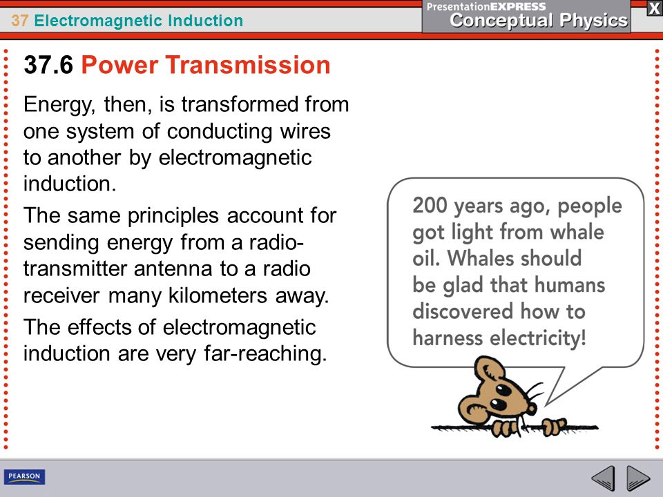 37 Electromagnetic Induction Energy, then, is transformed from one system of conducting wires to another by electromagnetic induction. The same princi