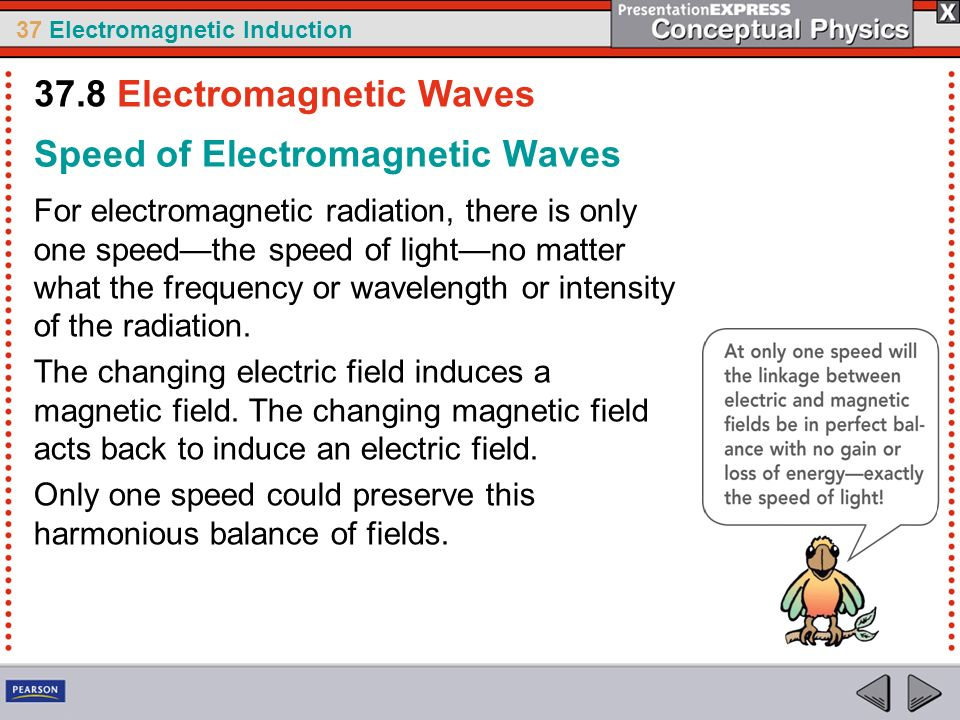 37 Electromagnetic Induction Speed of Electromagnetic Waves For electromagnetic radiation, there is only one speedthe speed of lightno matter what the