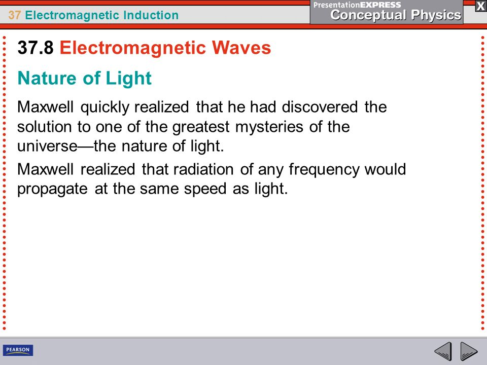 37 Electromagnetic Induction Nature of Light Maxwell quickly realized that he had discovered the solution to one of the greatest mysteries of the universethe nature of light.