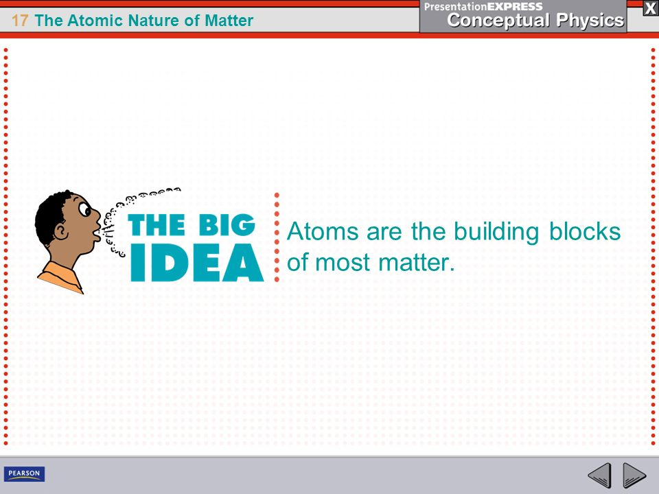 17 The Atomic Nature of Matter Atoms are the building blocks of most matter.