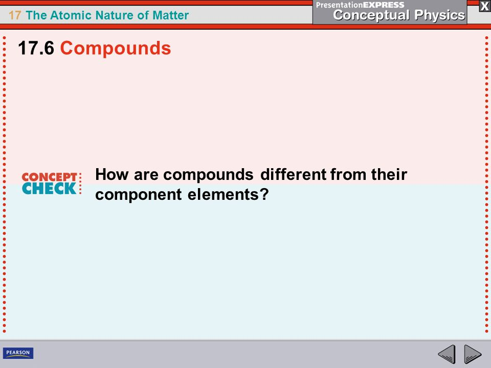 17 The Atomic Nature of Matter How are compounds different from their component elements? 17.6 Compounds