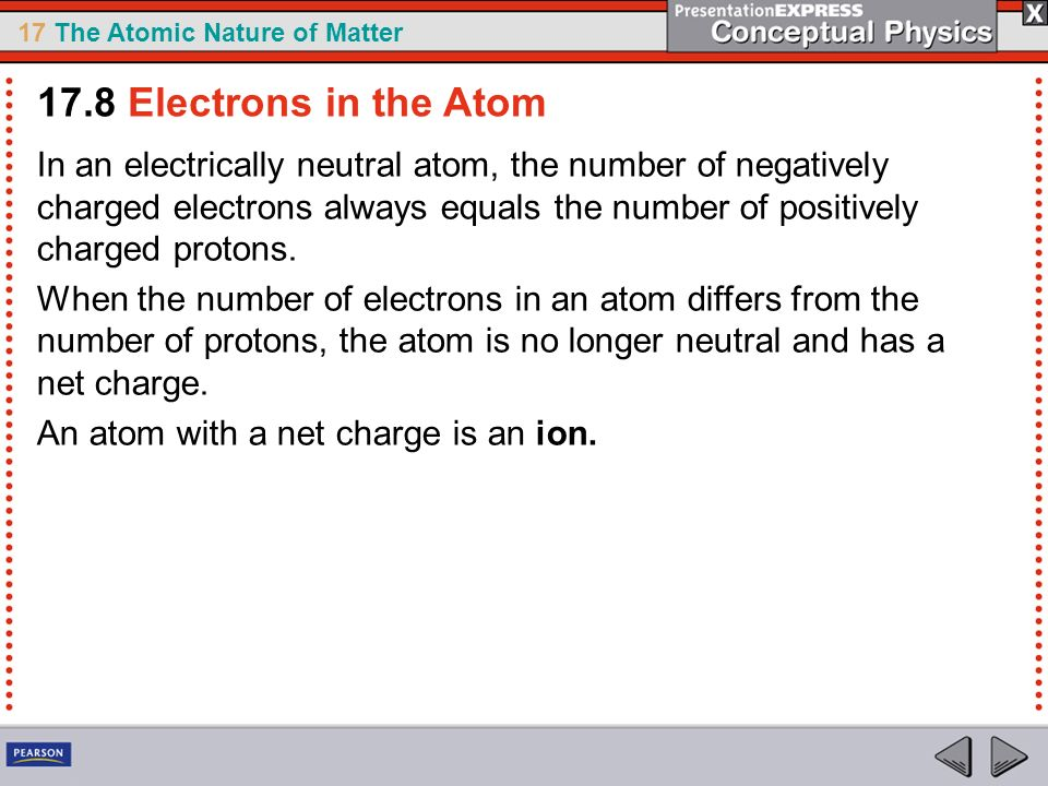 17 The Atomic Nature of Matter In an electrically neutral atom, the number of negatively charged electrons always equals the number of positively char
