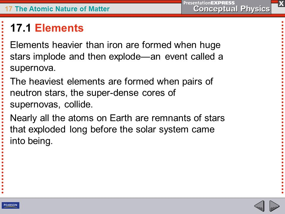 17 The Atomic Nature of Matter Elements heavier than iron are formed when huge stars implode and then explodean event called a supernova. The heaviest