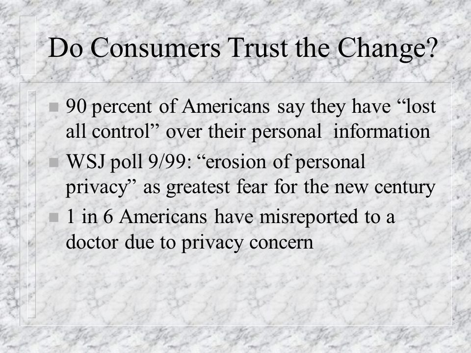 Do Consumers Trust the Change? n 90 percent of Americans say they have lost all control over their personal information n WSJ poll 9/99: erosion of pe
