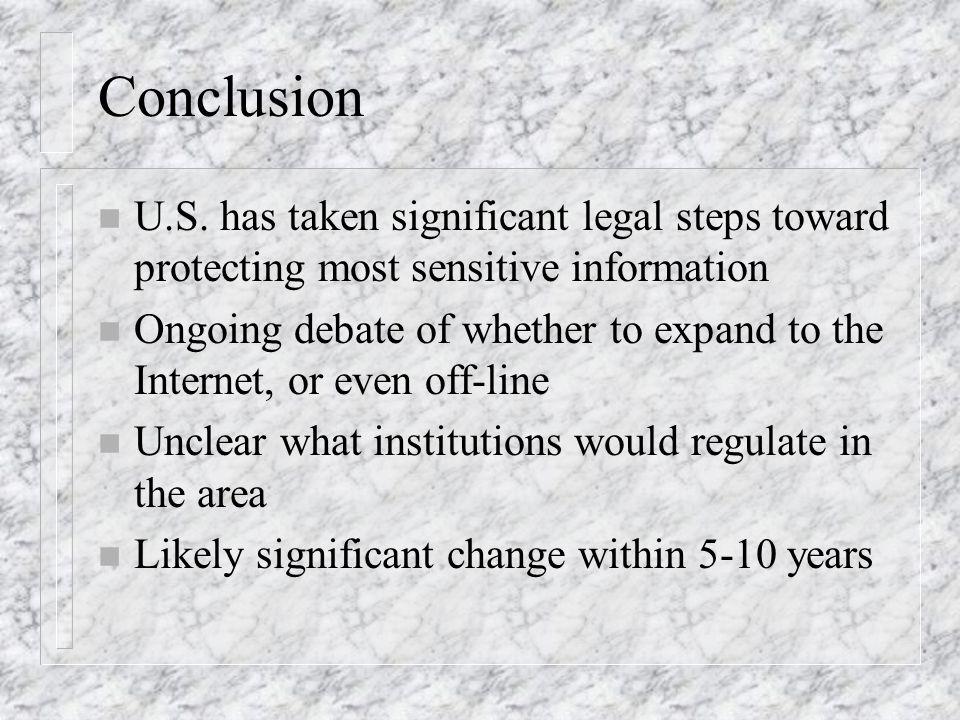 Conclusion n U.S.