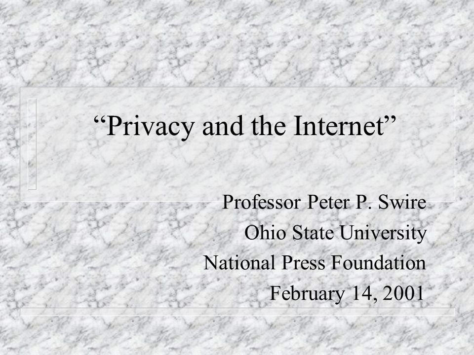 Privacy and the Internet Professor Peter P.