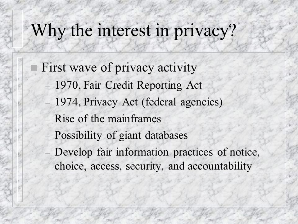 Why the interest in privacy.