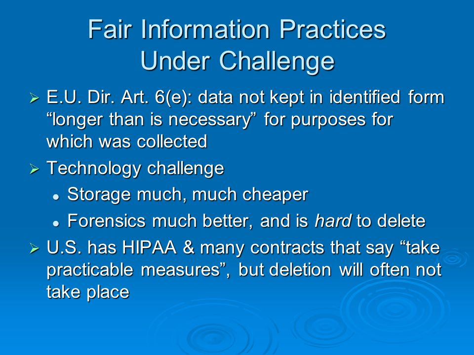 Fair Information Practices Under Challenge E.U. Dir.