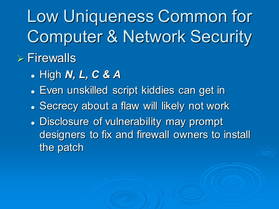 Low Uniqueness Common for Computer & Network Security Firewalls Firewalls High N, L, C & A High N, L, C & A Even unskilled script kiddies can get in Even unskilled script kiddies can get in Secrecy about a flaw will likely not work Secrecy about a flaw will likely not work Disclosure of vulnerability may prompt designers to fix and firewall owners to install the patch Disclosure of vulnerability may prompt designers to fix and firewall owners to install the patch