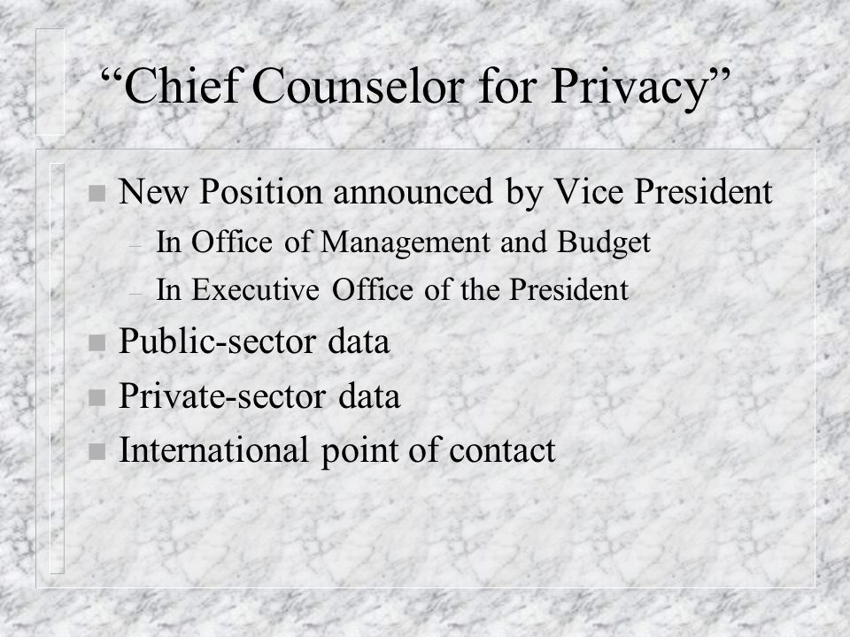 Chief Counselor for Privacy n New Position announced by Vice President – In Office of Management and Budget – In Executive Office of the President n P