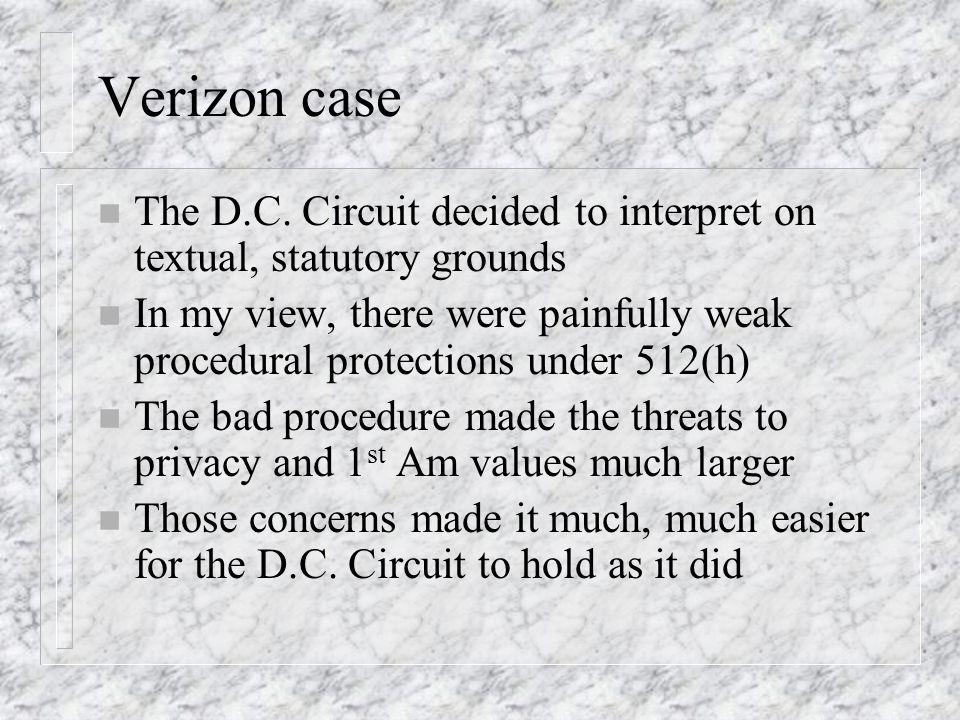Verizon case n The D.C.