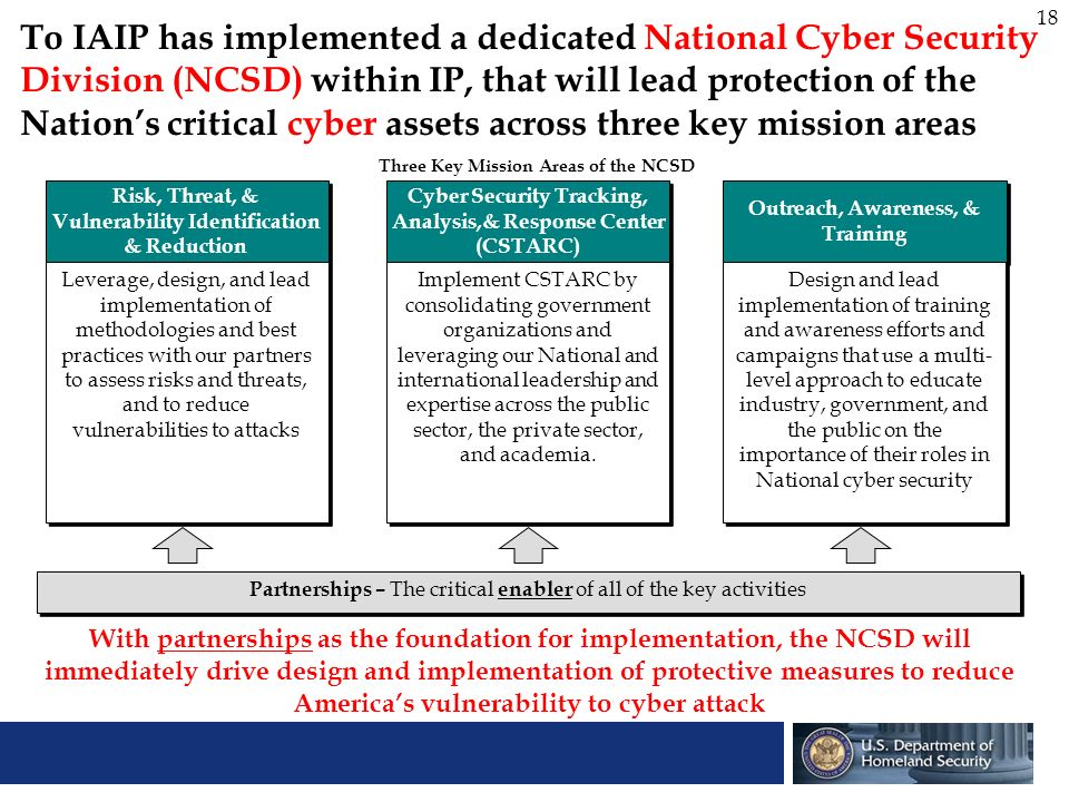 18 To IAIP has implemented a dedicated National Cyber Security Division (NCSD) within IP, that will lead protection of the Nations critical cyber asse