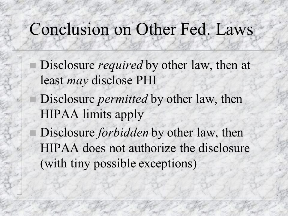 Conclusion on Other Fed.