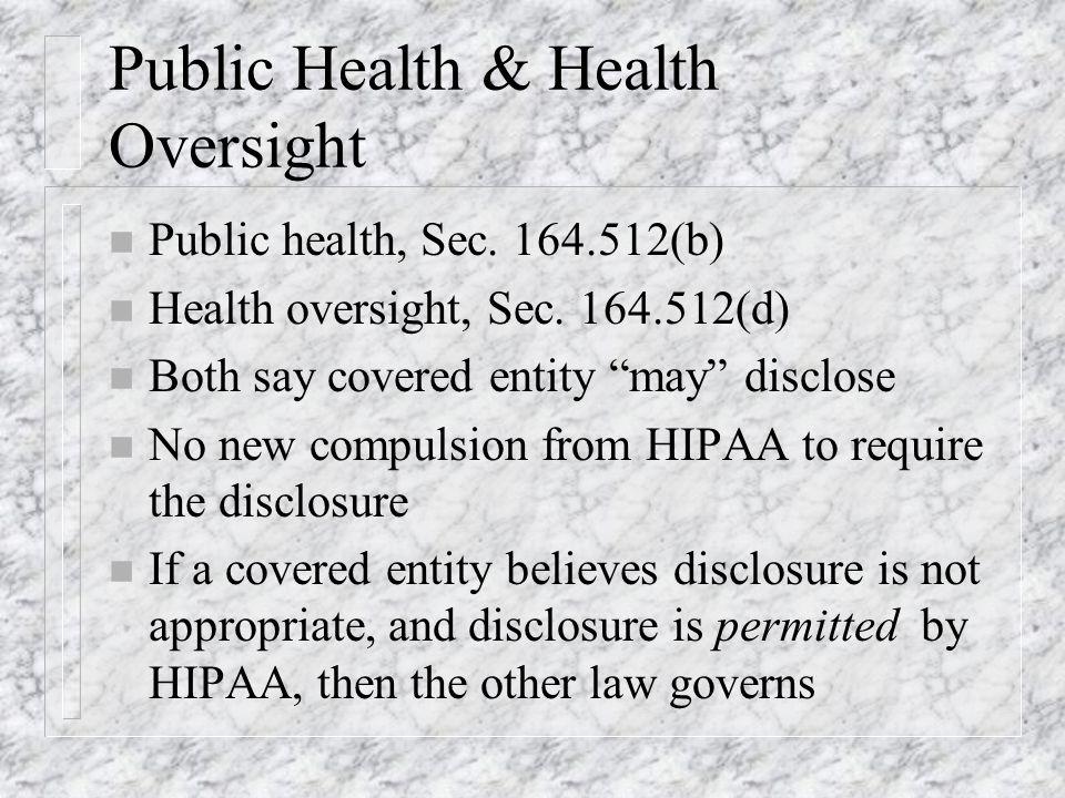 Public Health & Health Oversight n Public health, Sec.