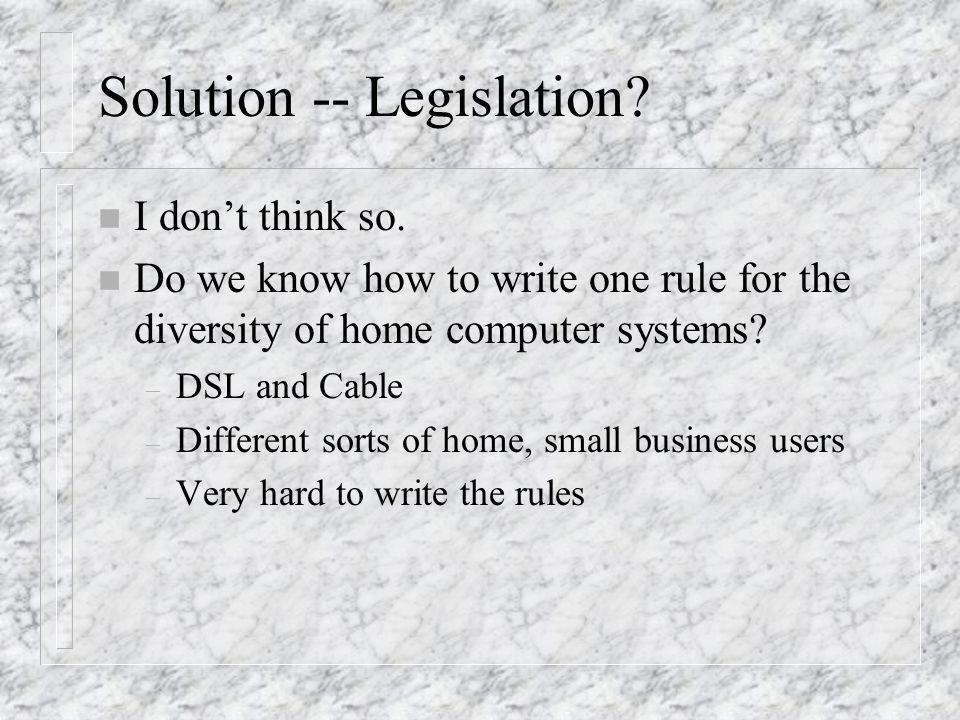 Solution -- Legislation.n I dont think so.