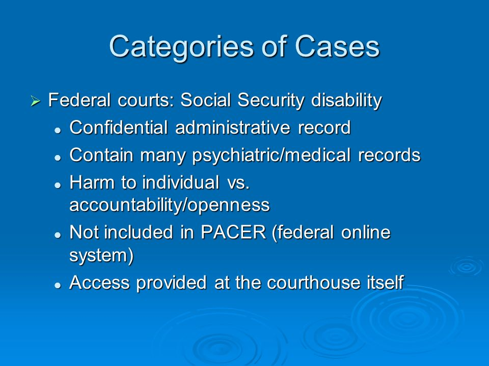 Categories of Cases Federal courts: Social Security disability Federal courts: Social Security disability Confidential administrative record Confidential administrative record Contain many psychiatric/medical records Contain many psychiatric/medical records Harm to individual vs.