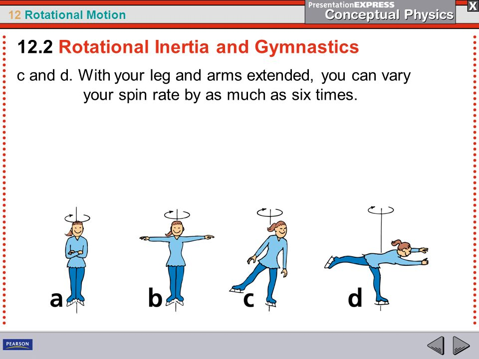 12 Rotational Motion c and d. With your leg and arms extended, you can vary your spin rate by as much as six times. 12.2 Rotational Inertia and Gymnas