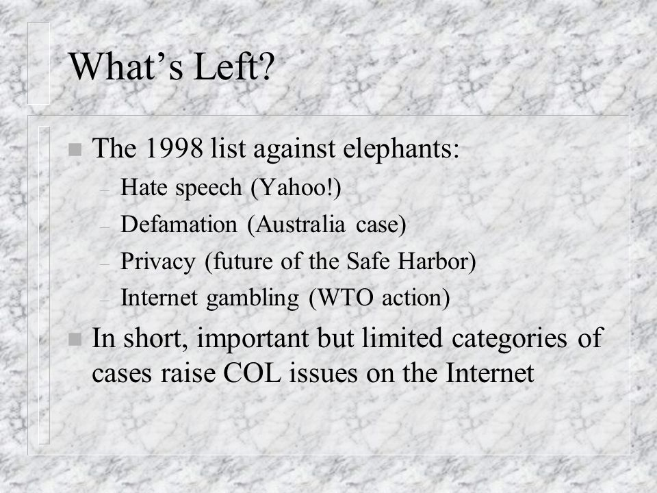 Whats Left? n The 1998 list against elephants: – Hate speech (Yahoo!) – Defamation (Australia case) – Privacy (future of the Safe Harbor) – Internet g